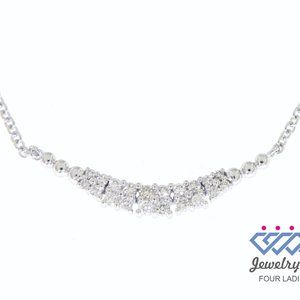 Cluster Diamond Curved Layered Necklace White Gold